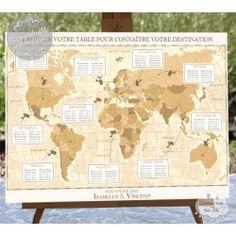 Plan de table mariage personnalisé et original - Dessine-moi ma Fête Vintage World Maps, Style Vintage, Place, Weddings, Wedding, Marriage, Mariage