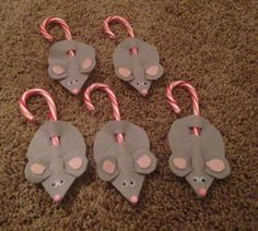 I made Felt mice with candy cane tails! Perfect easy Christmas craft!