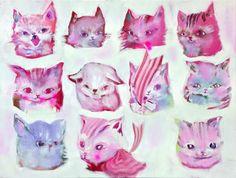 Taidelainaamo - Katja Tukiainen: Ten cats, one sheep Hand Sketch, Pastel Colors, Finland, Art Inspo, Sheep, Contemporary Art, Illustration Art, Colorful, Abstract