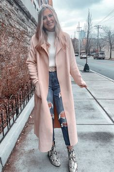 Shop Your Screenshots™ with LIKEtoKNOW. Pink Trench Coat, Trench Coat Outfit, Beige Coat, Winter Coat Outfits, Fall Outfits, Winter Clothes, Trendy Outfits, Fashion Outfits, Fashion Group