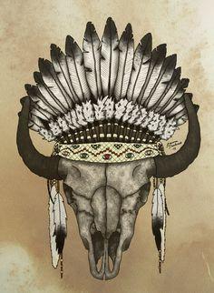 buffalo skull by Flygandetefat