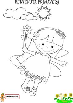 Re Ludos e la fata Primavera Colouring Pics, Coloring Books, Activities For Kids, Crafts For Kids, Summer Coloring Pages, Inspirational Thoughts, Summer Colors, Art School, Applique