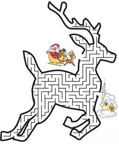 Reindeer Christmas Maze Printable - Printable Coloring Pages Christmas Maze, Fun Christmas Games, Holiday Games, Christmas Colors, Kids Christmas, Christmas Crafts, Reindeer Christmas, Garfield Christmas, Christmas Printable Activities