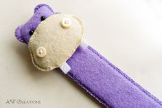 Felt hippo bookmark