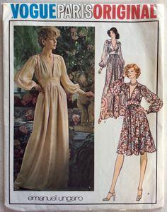 16d10044181 Vogue Paris Pattern 1132 EMANUEL UNGARO Plunging V Evening Gown or Cocktail  Dress w/Bodice
