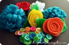 button and flower hair clips