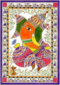 Lord ganesha Hindu Painting, Art print, Madhubani Acrylic painting, Intricate… Gond Painting, Ganesha Painting, Ganesha Art, Mural Painting, Lord Ganesha, Ganesha Drawing, Madhubani Paintings Peacock, Kalamkari Painting, Madhubani Art