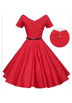 New Arrival Vintage Solid Color V-Neck High Waist Dress For Women #vintagedress #simibridal #vintagedress #simibridal #vintagedress #simibridal #vintagedress #simibridal