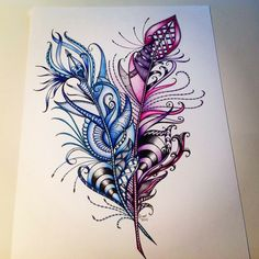 Mandala peacock feathers drawing in coloured pens Feather Drawing, Feather Art, Mandala Drawing, Feather Tattoos, Tattoo Drawings, Cool Drawings, Body Art Tattoos, Colorful Feathers, Peacock Feathers