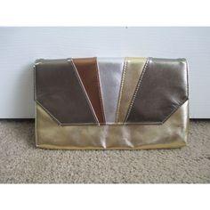 Vintage 1980s 80s Gold Silver Bronze ColorBlock Faux Leather Envelope Clutch Bag