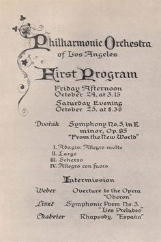 First Programme of the  Philharmonic Orchestra of Los Angeles, date (?)