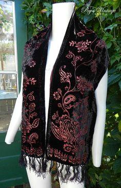 Vintage Floral VELVET Silk Tassel Long Scarf  Black & Red