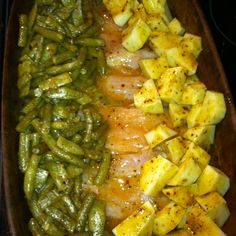 Easy and fast!!! Chicken breast cut in half Green beans Potatoes Dry Italian dressing mixed with a cup of olive oil or stick of melted butter. Cover with foil and bake one hr on 350.