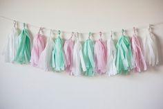 White Mint Pink Tissue Paper Garland, Wedding Decoration, Birthday Decoration, Baby Shower Decoration, Valentines Day, Fringe Garland