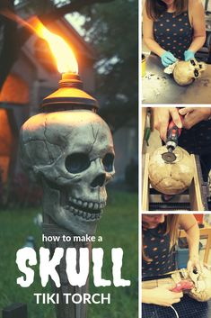 Learn how to take a simple plastic skull from the box store and easily turn into a DIY Halloween tiki torch skull! This is a simple and easy DIY Halloween Decor project that you can do yourself and with the kids. Halloween Party Themes, Halloween Projects, Diy Halloween Decorations, Skull Decor Diy, Skull Crafts, Halloween Skull, Halloween Crafts, Halloween Prop, Halloween 2019