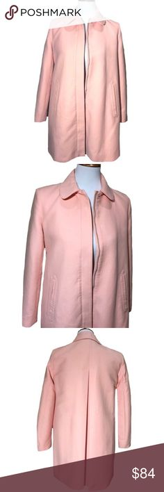 Zara Trafaluc Oversize Car Coat Light Pink Zara Trafaluc Outerwear, mid length oversize car coat (may fit size small also see posted measurements). Wide rounded collar, hidden front zipper, side hip slip pockets. Back pleat detail. Lightly textured smooth fabric. Fully lined. Great spring color, light pink with a slight peach hue (size photo best represents color). Great condition. Zara Jackets & Coats Pea Coats