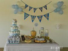 chá-de-bebê-simples-bolo-de-fraldas Baby Shower, Diy, Home Decor, Gabriel, Alice, Simple Baby Shower Cakes, Simple Baby Shower, Cute Surprises, Ornaments