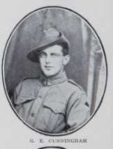 CUNNINGHAM,   Colin   Edgar.   Signaller,   No.  4392,   25th   Battalion.   Was   born   at   Tiaro   on  the   20th   May,   1896.   Signaller   Cunningham   is   the   son   of   Stewart   Crumby   Cunningham  and   Mary   Ellen   Cunningham,   of   Queen   Street,   Maryborough.   Enlisted   with   his   brother   Wilfred,   on   the   23rd   September,   1915.