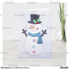 Snowman Holiday Card Christmas Greetings, Holiday Cards, Christmas Cards, Favorite Holiday, Photo Cards, Happy Holidays, Smudging, Paper Texture, Snowman