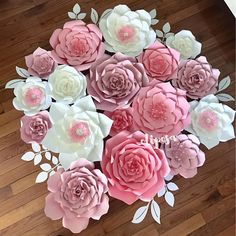17 pc Paper Flower Set backdrop nursery home decor
