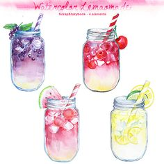 Watercolor Lemonade Clipart digital printable por Scrapstorybook, Ft1000.00