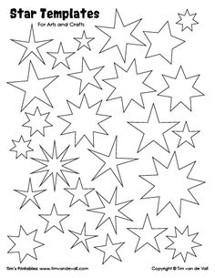Free printable star templates for your art projects. Use these star shapes for artwork, decorations, geometry assignments, labels, printable stickers etc. String Art Templates, Shape Templates, Stencil Templates, Stencil Patterns, Templates Free, Star Template Printable, Printable Stickers, American Flag Crafts, Star Coloring Pages