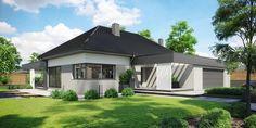 DOM.PL™ - Projekt domu CPT HomeKONCEPT-68 CE - DOM CP1-82 - gotowy koszt budowy Modern Bungalow Exterior, Modern House Facades, Modern House Design, Village House Design, Village Houses, Beautiful House Plans, Dream House Plans, Facade House, Home Fashion