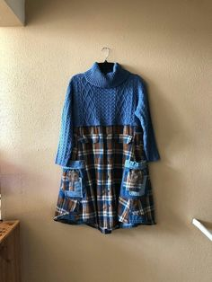 Excited to share this item from my shop: Upcycled Sweater Dress , Country Western Cowgirl Sweater Tunic , Prairie Chic Refashioned Sweater , Plaid Flannel Shirt with Denim Trim Sweater Refashion, Clothes Refashion, Refashioned Clothes, Sewing Clothes Women, Diy Clothes, Remake Clothes, Pullover Upcycling, Ropa Shabby Chic, Umgestaltete Shirts