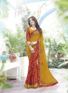Yellow & Red Georgette Saree ,Indian Dresses - 1