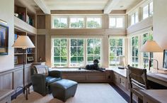 Architects—Kenwood Shingle Style Cottage: Millwork on the interior aligns with timber work on the exterior, creating a sense of structural unity viewed from inside or out. Interior beams are sandblasted and pickled; outside, painted white. Formal Living Rooms, Living Spaces, Traditional Porch, Traditional Exterior, Traditional Kitchen, Art Deco Decor, Kitchen Cabinet Styles, Beige Walls, Home Office Design