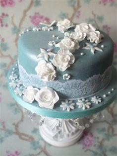 Blue 1 Tier Cake