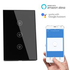 Smart Wall Light Switch Glass Touch Panel WIFI Remote Control Timer Smart Home Work with Alexa for iOS Android Smart Phone(3 gang)