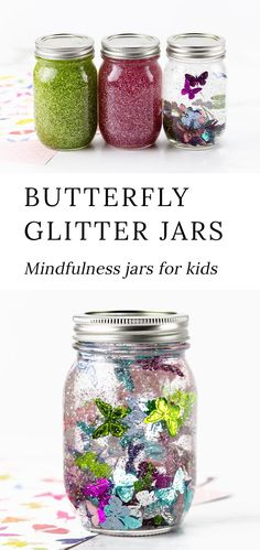 Follow along with our step-by-step directions and video tutorial to create these beautiful and calming Butterfly Glitter Jars! #glitterjars #spring #kidscrafts via @firefliesandmudpies Insect Crafts, Bug Crafts, Kids Crafts, Spring Crafts For Kids, Diy For Kids, Mason Jar Crafts, Mason Jars, Plastic Jars With Lids, Kindergarten Crafts