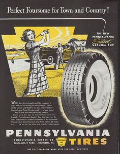 """Description: 1948 PENNSYLVANIA TIRES vintage print advertisement """"Perfect Foursome for Town and Country!""""-- The New Pennsylvania Silent Vacuum Cup.  -- Size: The dimensions of the full-page advertisement are approximately 10.5 inches x 13.5 inches (27cm x 34cm). Condition: This original vintage advertisement is in Very Good Condition unless otherwise noted (faint pinkish stain area lower-right corner)."""