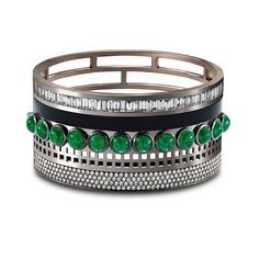 MISH MASH CUFF-Solange Azagury-Partridge. Baguette and brilliant cut Diamonds, cabochon Emeralds and onyx set in 18ct white gold
