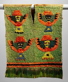 """""""Date: 12th–13th century Geography: Peru Culture: Ica (?) Medium: Cotton, feathers Dimensions: 25 x 30 in. (63.5 x 76.2 cm) """" """"Feathers were considered luxury materials in ancient Peru. They were used to embellish elite costume for thousands of years. Textiles densely covered with the brilliantly colored feathers of tropical rainforest birds are among the most spectacular works produced by ancient Andean artists. Feathered garments lent the wearer status and prestige and indicated wealth."""""""