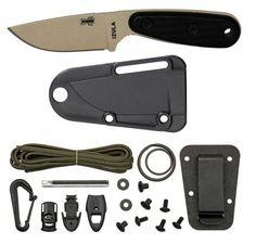 ESEE Izula Desert Tan Survival Knife with Black G10 Handles & Survival Kit - Knives