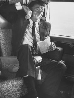 Jubilant Ronald Reagan Celebrating His Victory For Governor During California Gubernatorial Primary.