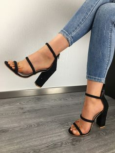 Faux Suede Lace-up Chunky Heeled Sandals Cute Shoes Heels, Fancy Shoes, Pretty Shoes, Beautiful Shoes, Pink Shoes, Heeled Boots, Shoe Boots, Heeled Sandals, Sandals Outfit
