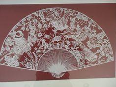 JP: Early Vintage Chinese Folk Art Paper Cut Fan in Gilt Frame