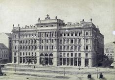 The Haas Palace in Budapest, Hungary. Built in neo-renaissance style according to Stefan Linzbauer's plans in 1873. Received a direct hit in WW2 and completely burned out, later demolished. Replaced by a modernist building in 1971, then by a newer one in 2005 which still stands today.: ArchitecturalRevival Vintage Architecture, Historical Architecture, Different Architectural Styles, Urban Design Plan, City Drawing, Native Country, Come And Go, Budapest Hungary, Old Photos