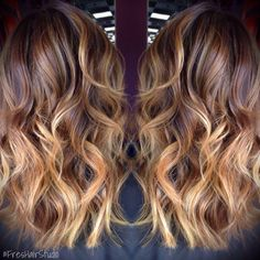 Caramel delight. Hand painted highlights gives the hair TONS of movement