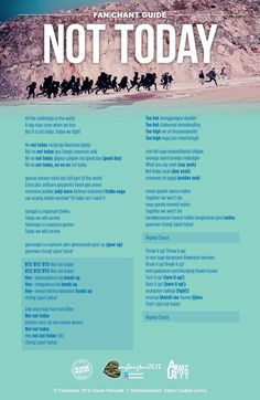 bts not today fanchant Bts Song Lyrics, Bts Lyrics Quotes, Music Lyrics, K Pop, For Today Lyrics, Bts Wallpaper Lyrics, Bts Not Today Wallpaper, Bts Twt, Foto Jimin