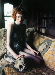 Karen Elson by Perry Ogden, 1997 Passion Photography, Stunning Photography, Color Photography, Karen Elson, Babylon City, Best Fashion Photographers, Animal Rug, Stella Tennant, Losing A Dog