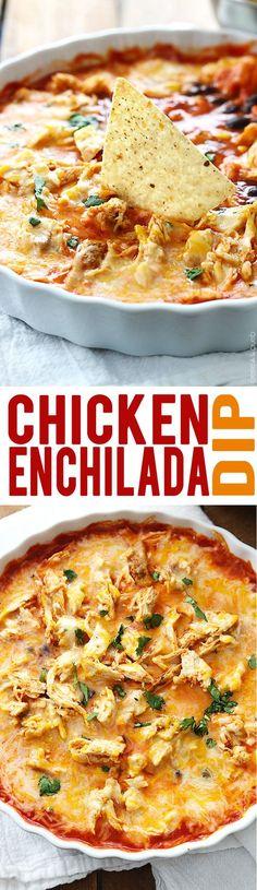 Cheesy Baked Chicken Enchilada Dip | Creme de la Crumb
