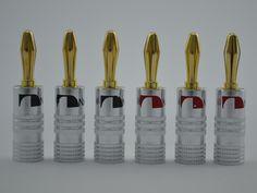 24 cái/lốc 4 mét Nakamichi Speaker Chuối Cắm 24 K mạ Vàng Adapter Kết Nối Ổ Cắm Âm Thanh Jack Vít Đen Đỏ RCDNK