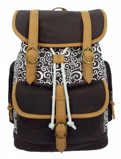 "printed canvas computer daypack fits 15"" laptop Case of 12"