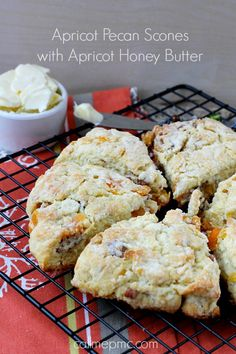 Apricot Pecan Scones with Apricot Honey Butter is flaky outside, tender, creamy … Apricot Pecan Scones with Apricot Honey Butter is flaky outside, tender, creamy inside. Brunch Recipes, Sweet Recipes, Breakfast Recipes, Breakfast Biscuits, Baking Scones, Bread Baking, Baking Soda, Savory Scones, Poblano