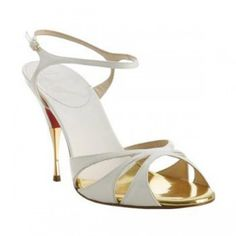 Christian louboutin white patent leather 'Noeudette' sandals