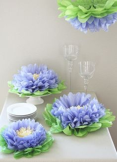 paper waterlily, waterlili paper, paper garden party, paper pom poms, garden parties, flower